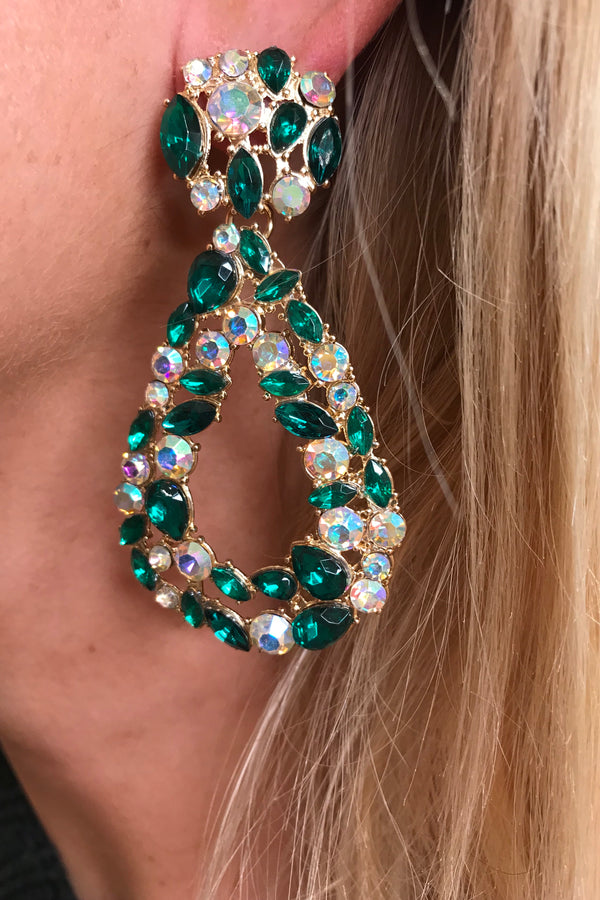GREEN/SILVER CRYSTAL GEM EARRINGS