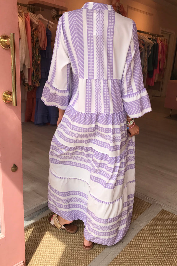 PURPLE/WHITE AZTEC RUFFLE MAXI DRESS