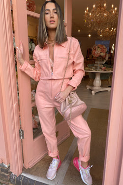 PEACH DENIM JUMPSUIT