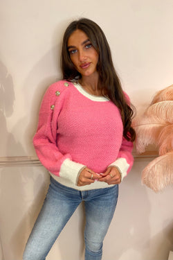 HOT PINK SOFT KNIT JUMPER WITH GOLD BUTTON DETAIL