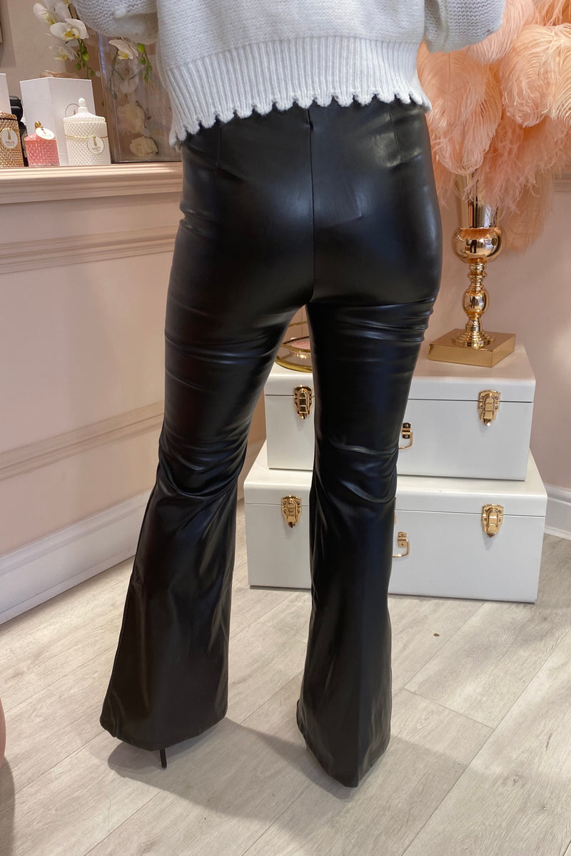 BLACK FAUX LEATHER FLARED TROUSER