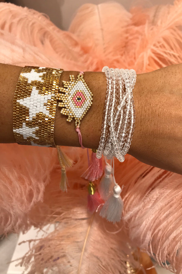 WHITE/PINK/GOLD BEADED EVIL EYE BRACELET SET