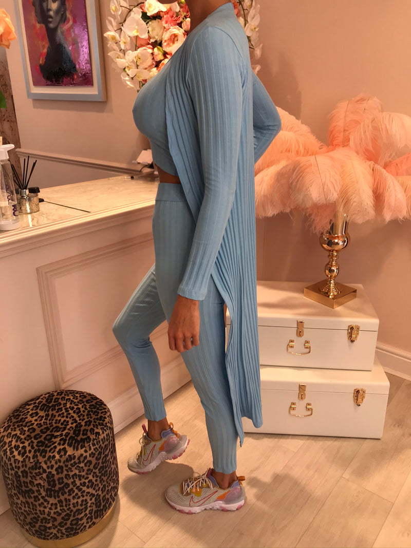 ELLA 3PC RIBBED TRACKSUIT BABY BLUE