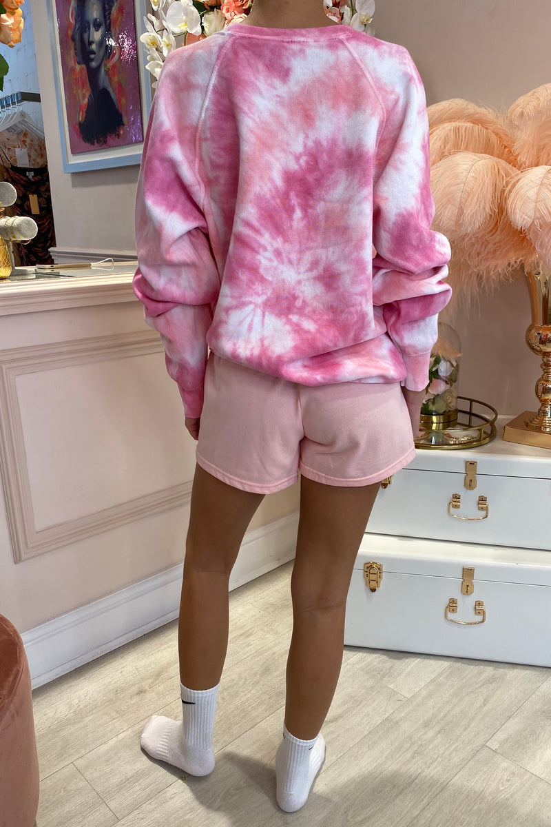 TYE DYE PINK/LIGHT PINK ROUND NECK JUMPER