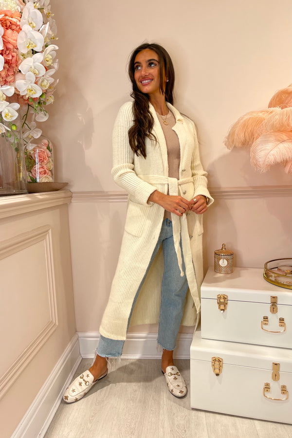 RIANA CREAM KNITTED LONG CARDI