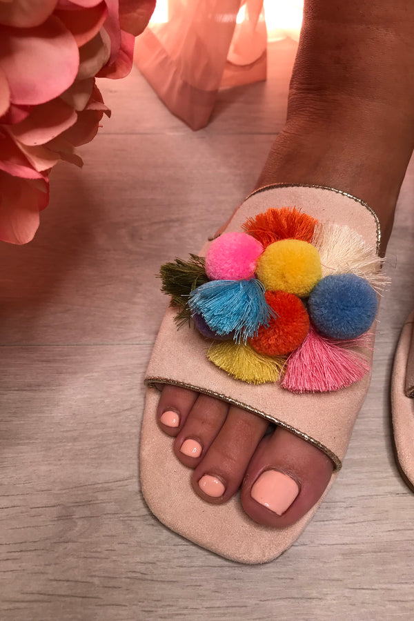 CREAM/COLOURFUL POM POM SANDALS