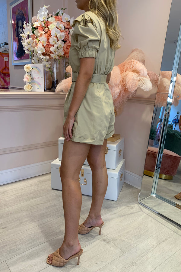BEIGE LACE DETAILED PLAYSUIT