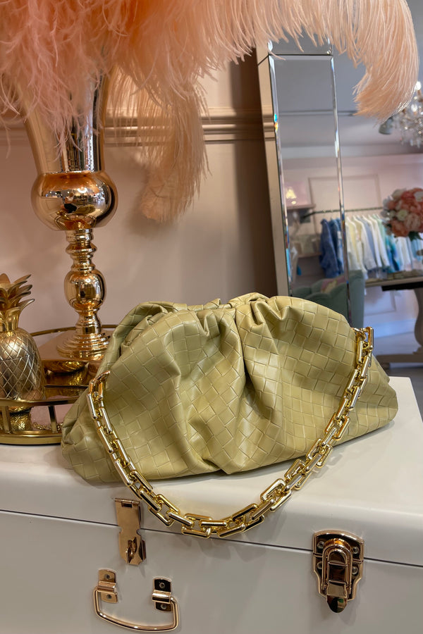 BEIGE WOVEN MILA BAG WITH GOLD CHAIN
