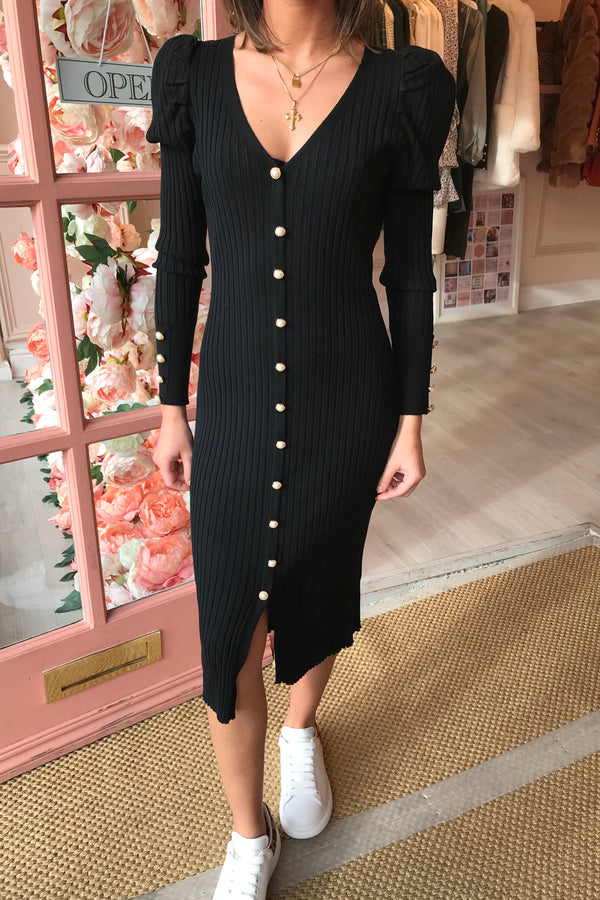 HALLIE BLACK PEARL BUTTON FRONT MIDI DRESS