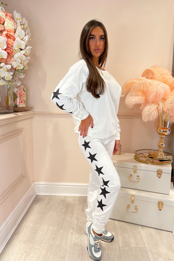 WHITE WITH BLACK STAR TRACKSUIT