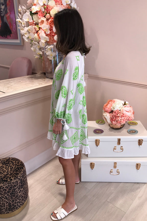 DOLLY GREEN/WHITE EMBROIDERED BEACH DRESS