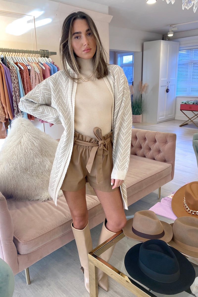 CREAM GOLD CHEVRON KNITTED CARDIGAN