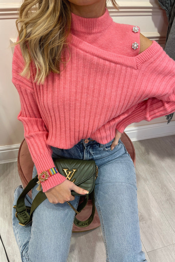 PETAL PINK KNIT JUMPER WITH CUT OUT SHOULDER