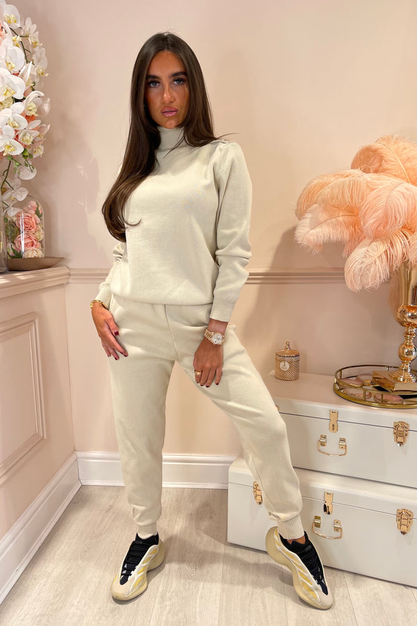 TIA CREAM KNITTED ROLL NECK SET WITH GOLD BUTTON DETAIL