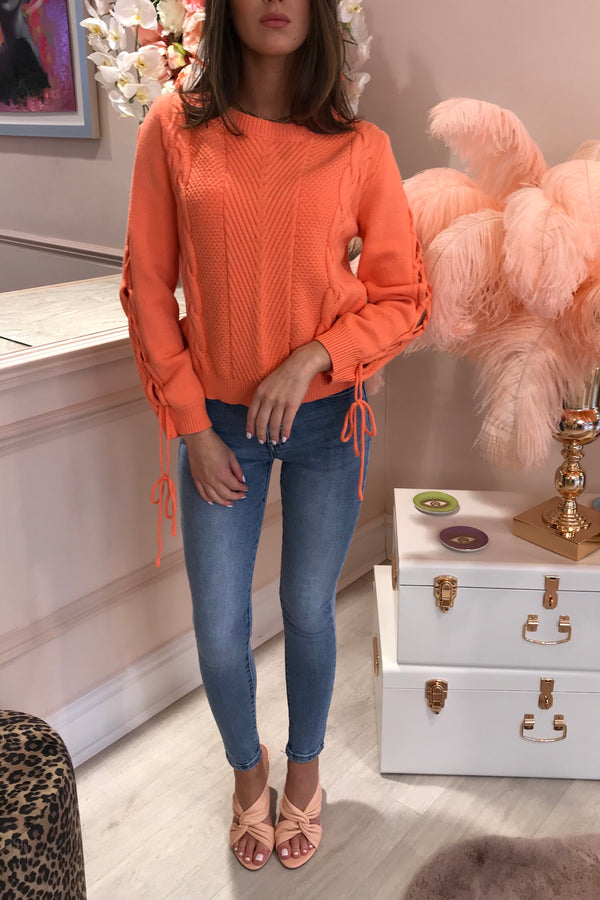 CORAL JUMPER WITH OPEN KNIT TIE SLEEVE