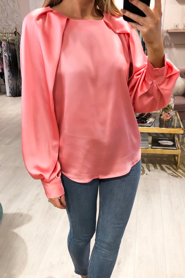 TWINKLE SATIN BLOUSE PINK