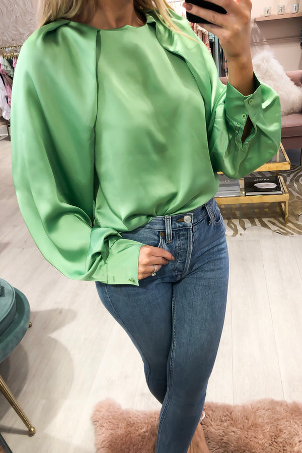 TWINKLE SATIN BLOUSE GREEN