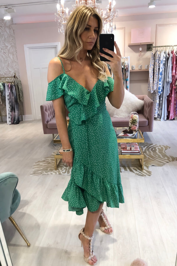 FRILL WRAP MIDI DRESS GREEN SPOT PRINT