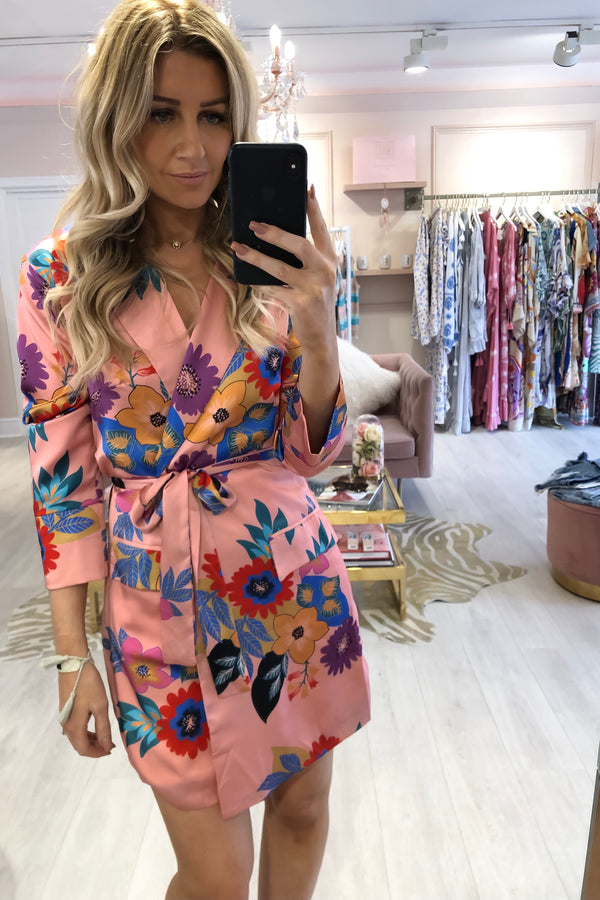 BIG BLOOM SATIN BLAZER DRESS