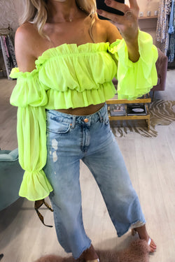 LOTTI LIME CROPPED BLOUSE