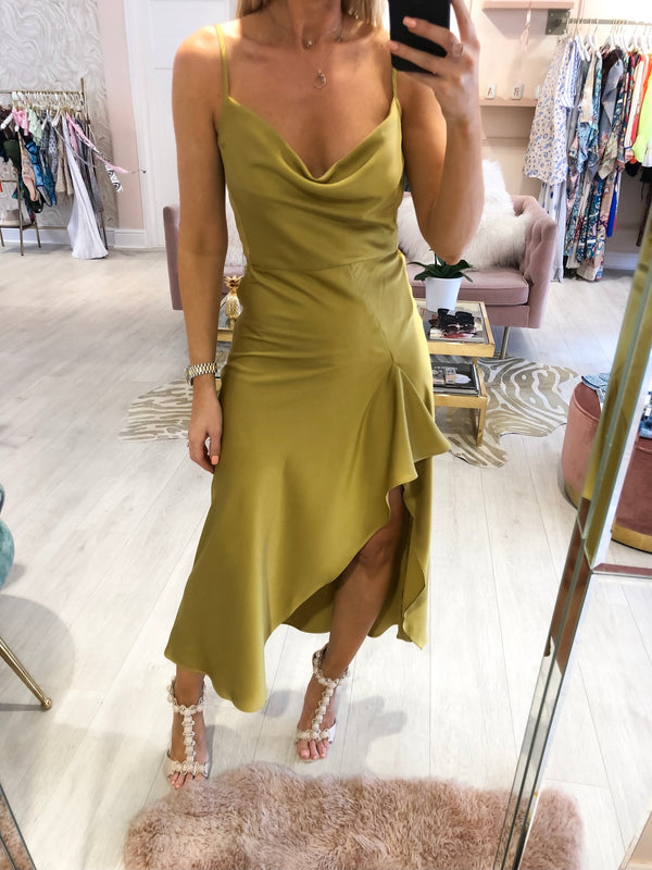 OLIVE SLIP DRESS WITH RUFFLE DETAIL