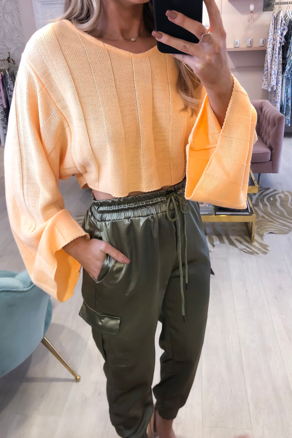 APRICOT CROPPED OVERSIZED JUMPER