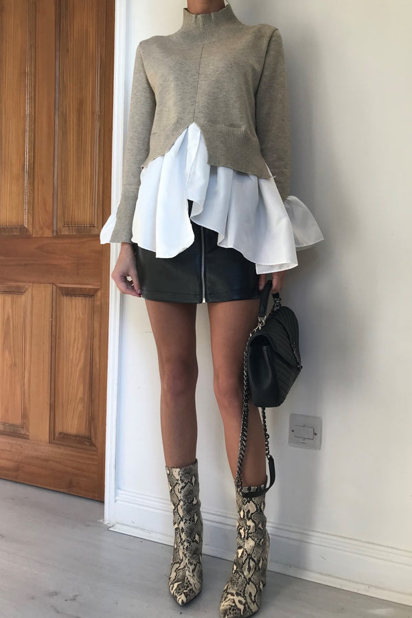 image 1 of MILLIE MOCHA JUMPER WITH SHIRT DETAIL