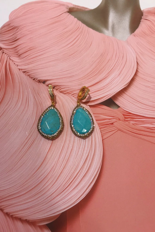 image 1 of TURQUOISE & GOLD CRYSTAL DROP EARRINGS