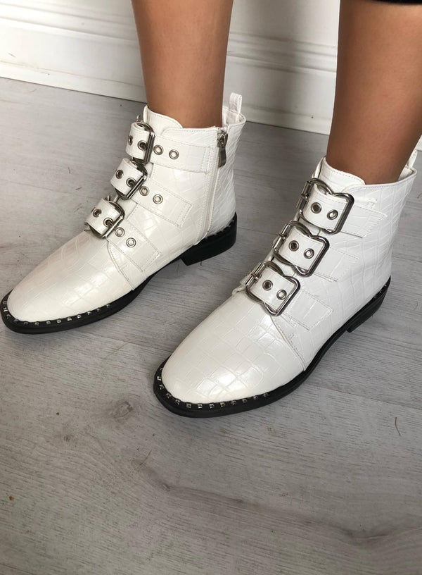 image 2 of CROC BUCKLE BOOTS WHITE