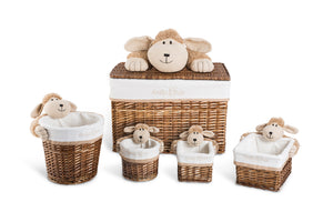 Lucile the hairy sheep rectangle basket set