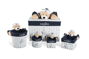 Paul the sailor bear round basket set