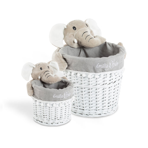 Bernard the elephant round basket set