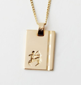 Gold Star Sign Necklace - Sagittarius