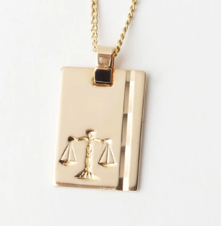 Gold Star Sign Necklace - Libra