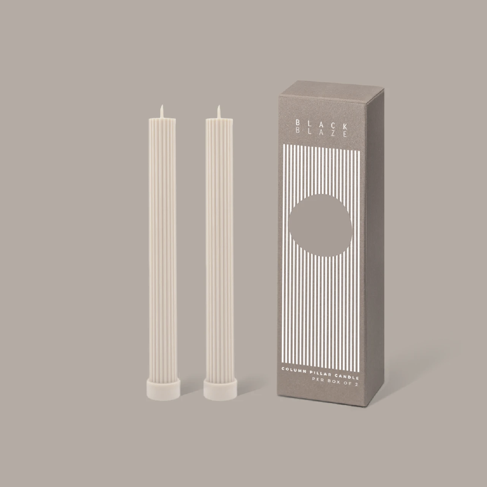 Column Pillar Candle Duo  - Cream White
