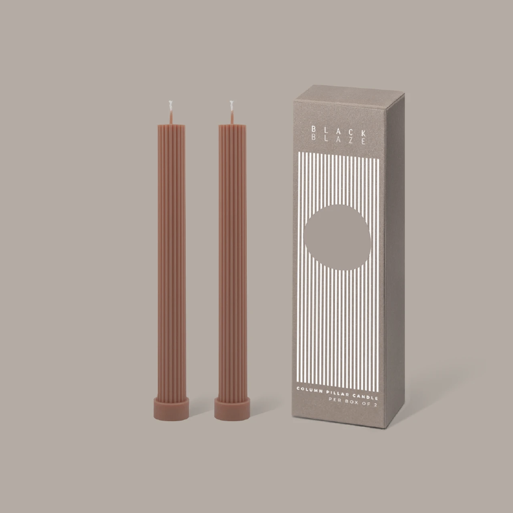 Column Pillar Candle Duo - Peach