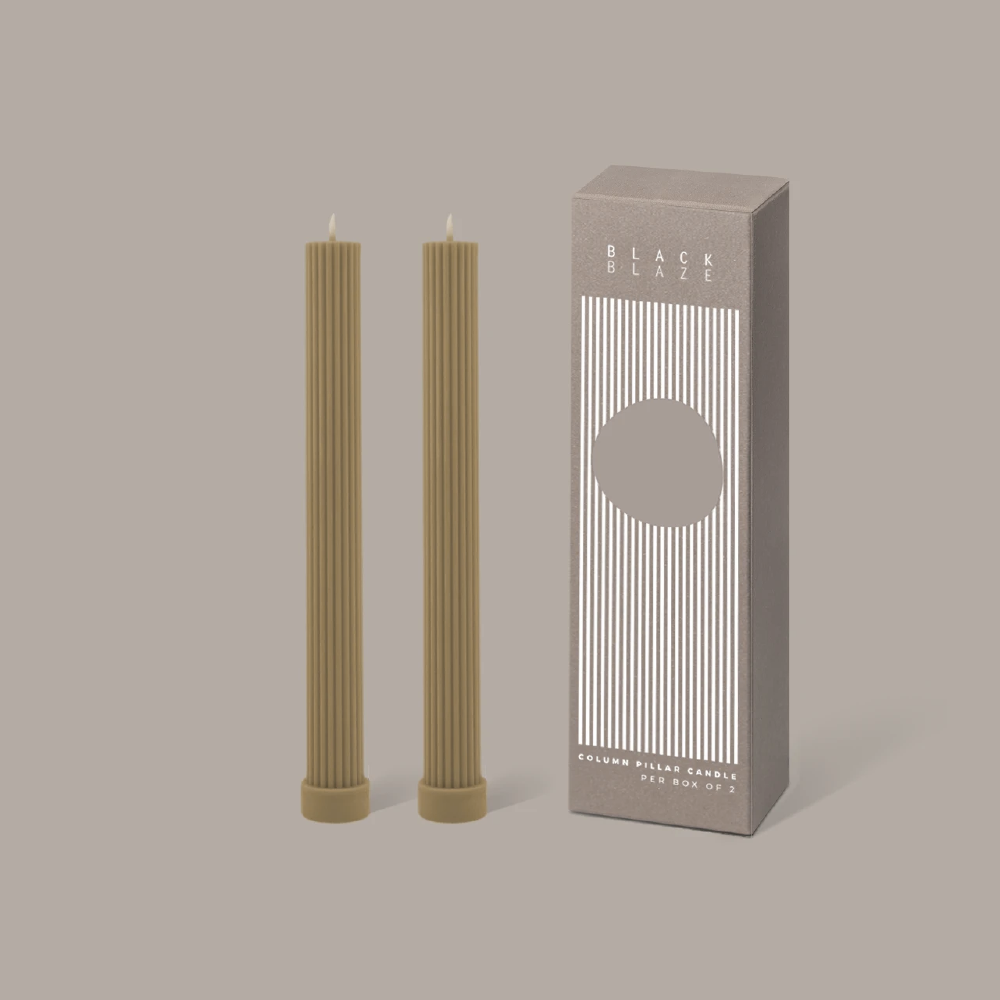 Column Pillar Candle Duo - Honey
