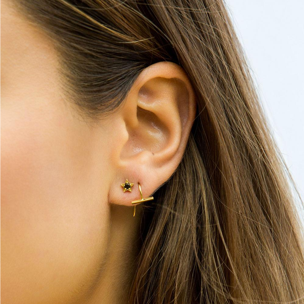 Mini T Bar Earring - Rose Gold