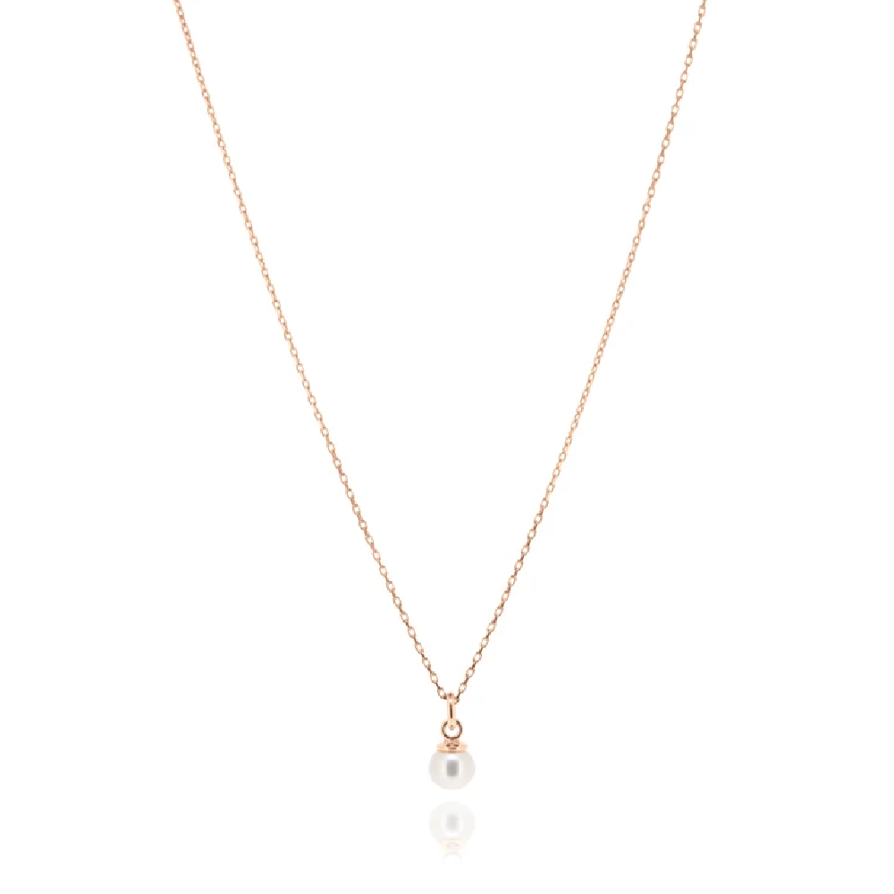 Cleo Pearl Necklace - Rose Gold
