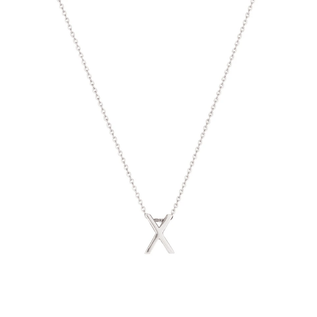 Sterling Silver Letter Necklace - X