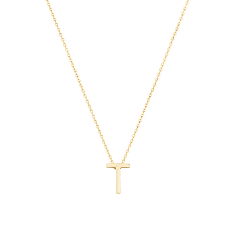 Gold Letter Necklace - T