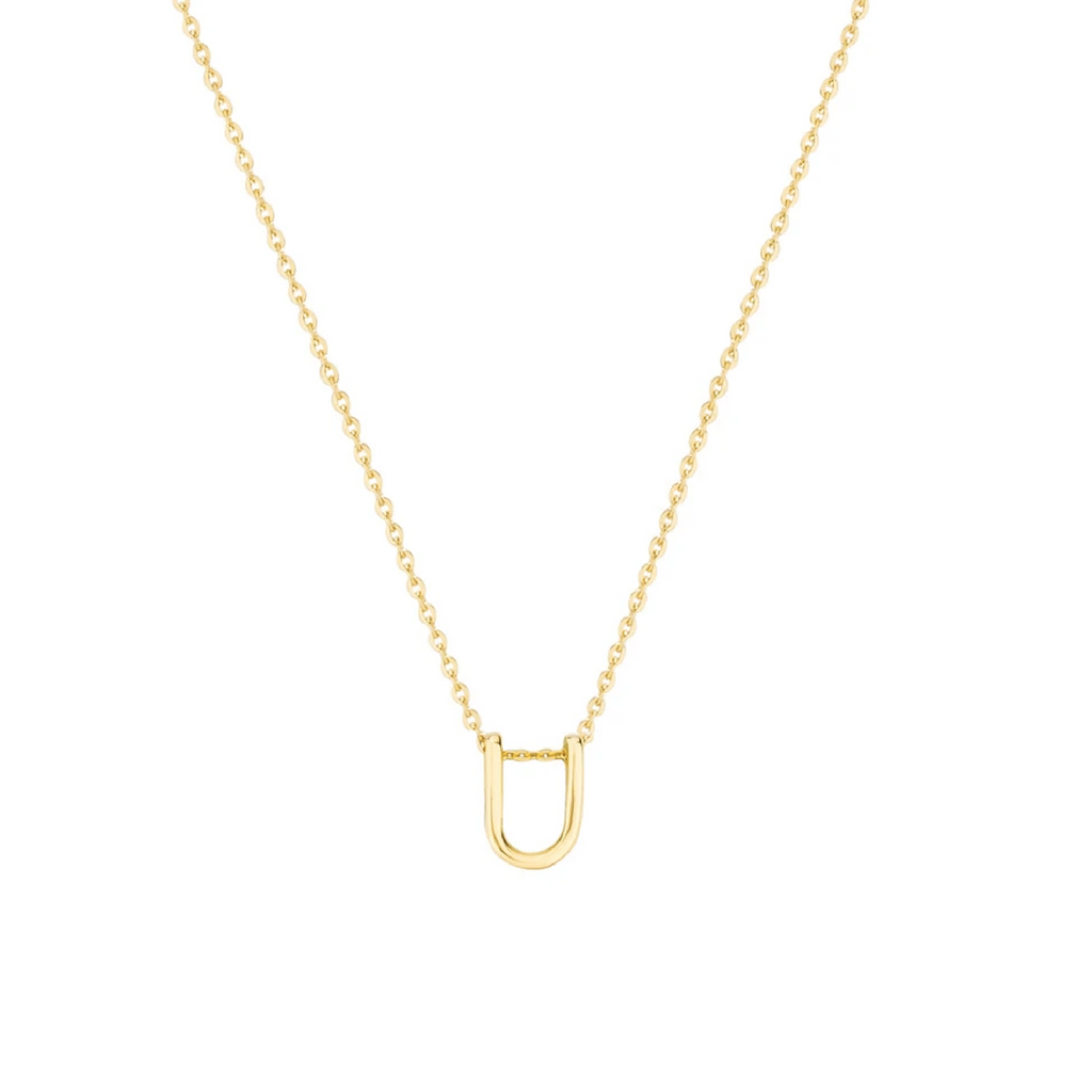 Gold Letter Necklace - U