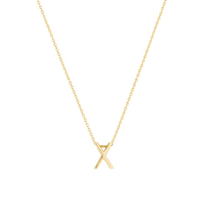 Gold Letter Necklace - X