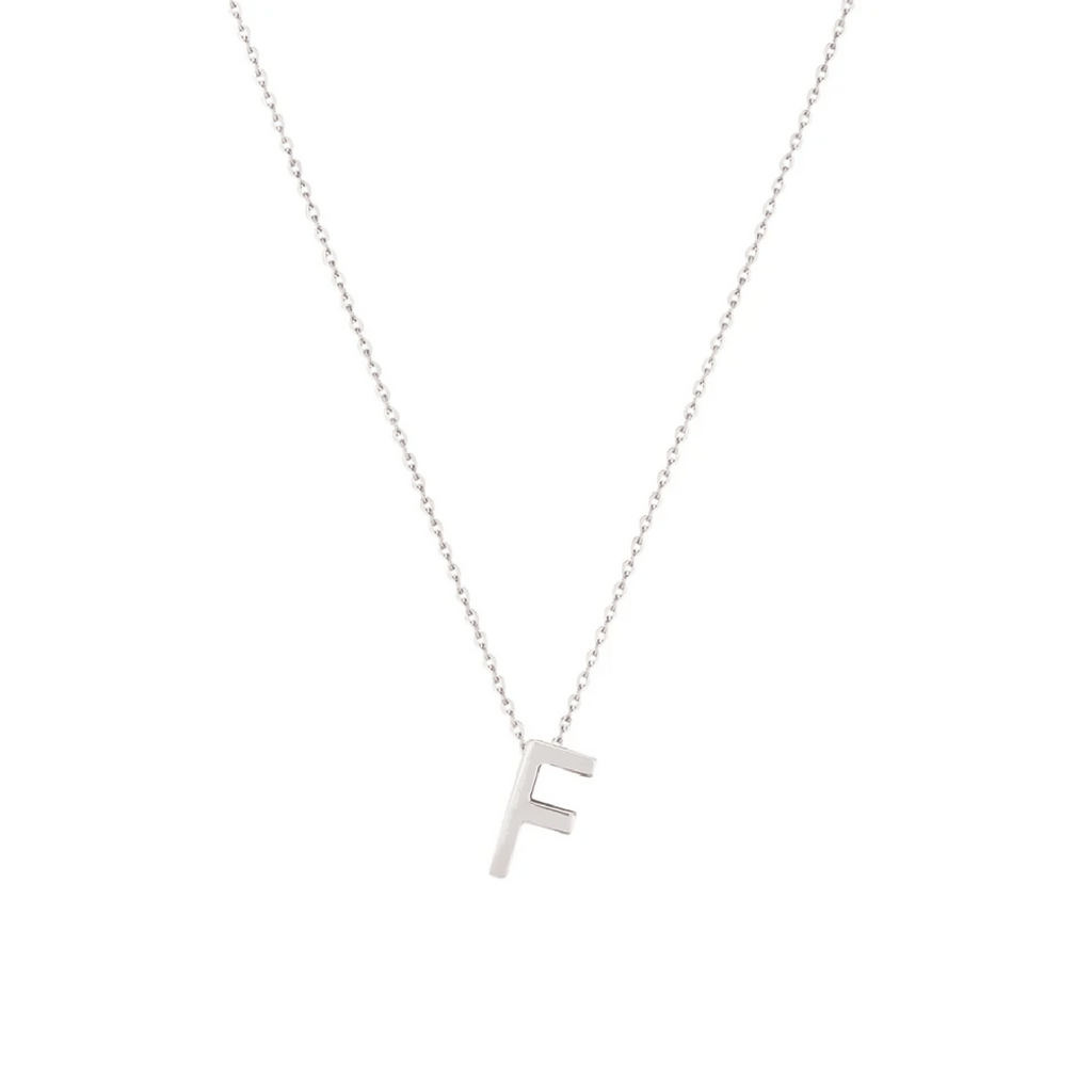 Sterling Silver Letter Necklace - F