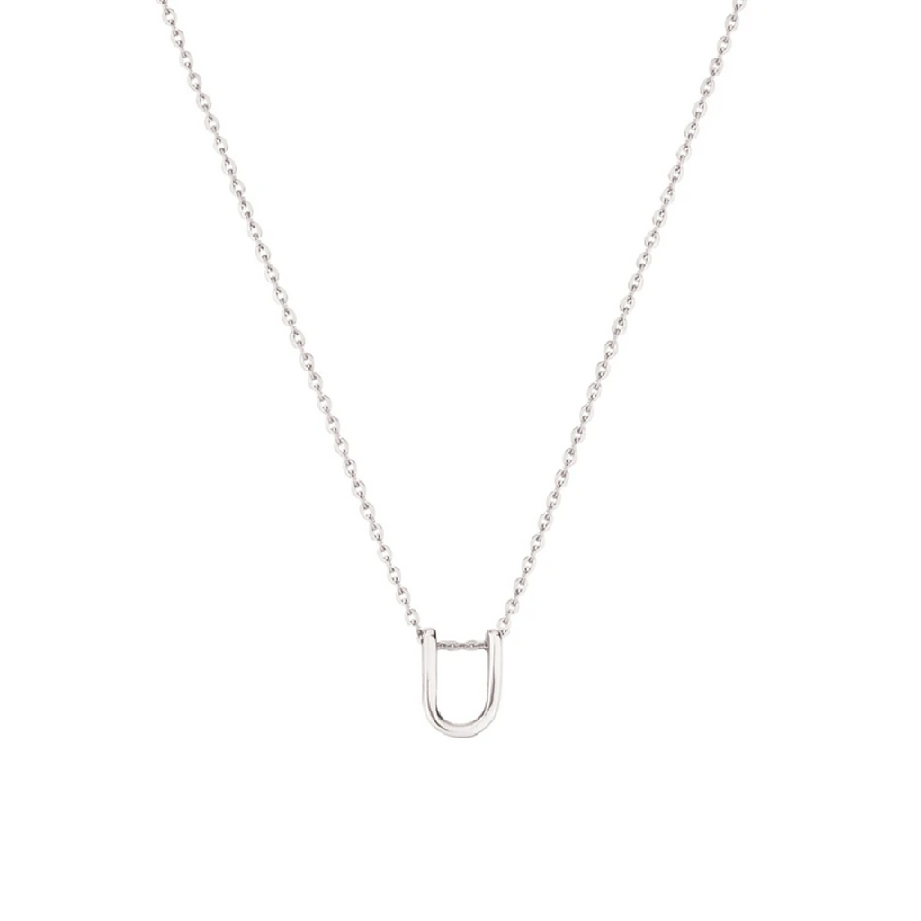 Sterling Silver Letter Necklace - U