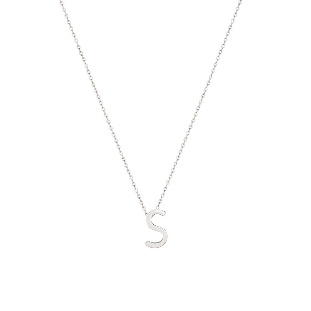Sterling Silver Letter Necklace - S