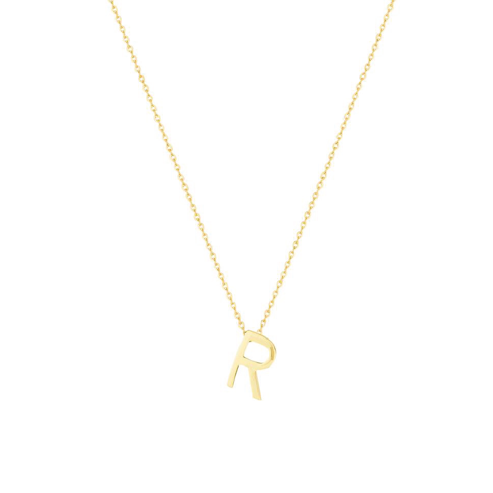 Gold Letter Necklace - R
