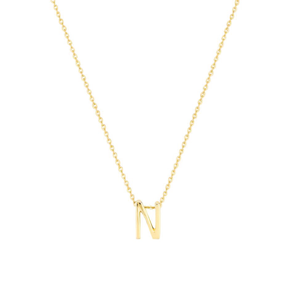 Gold Letter Necklace - N