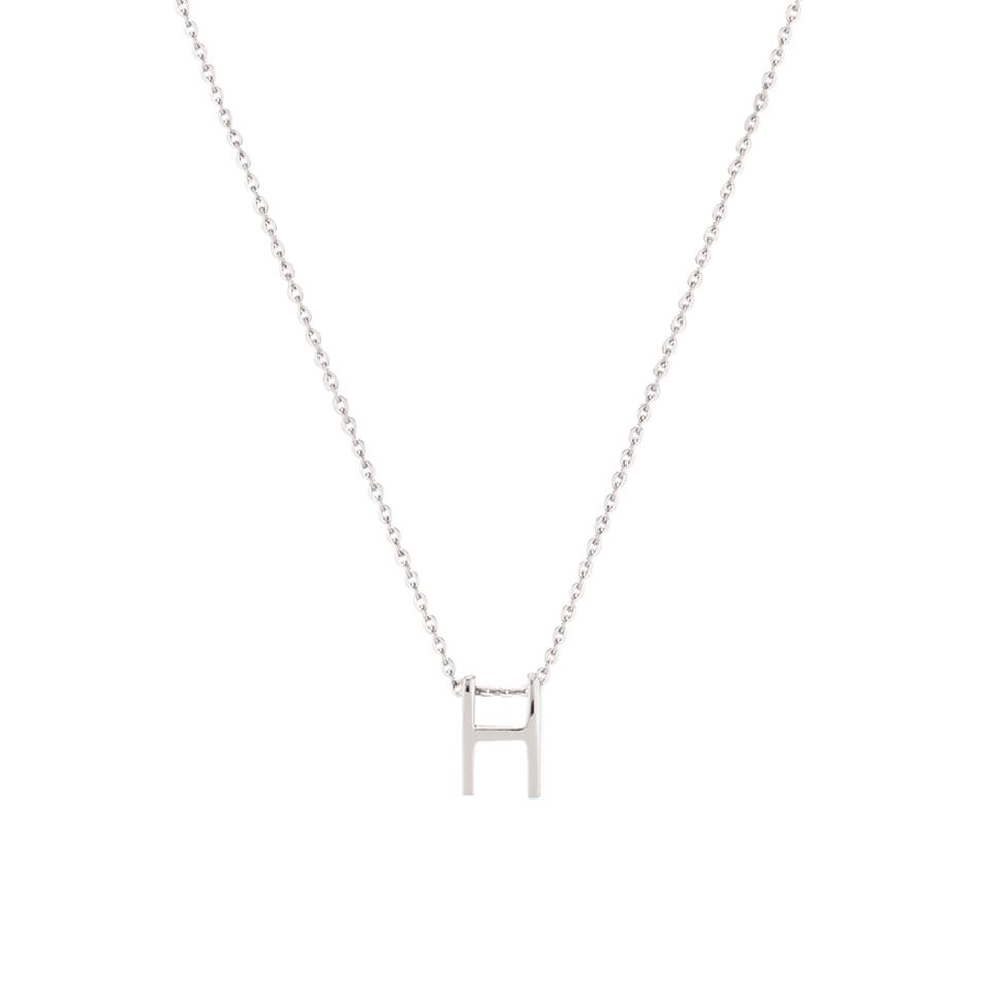 Sterling Silver Letter Necklace - H