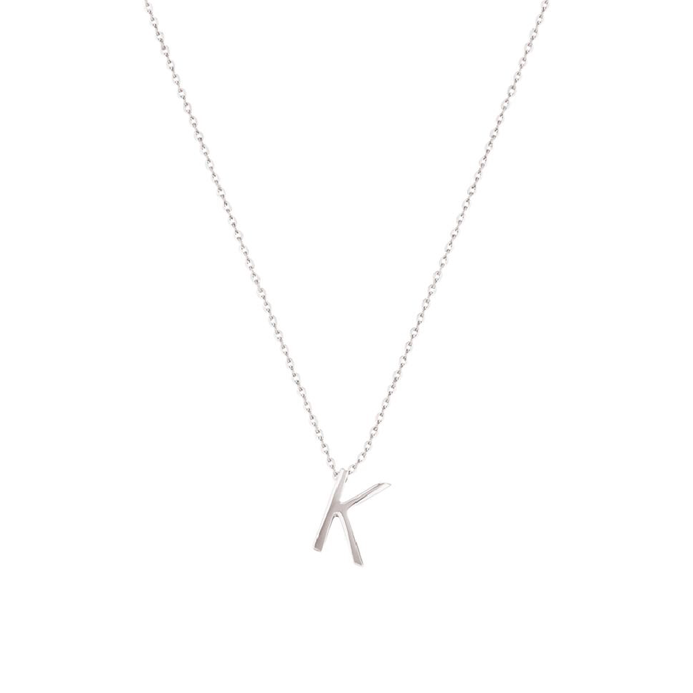 Sterling Silver Letter Necklace - K